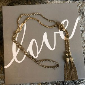 Long antique gold knitted diamond tassel necklace